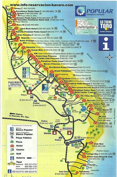Carte des hôtels à Punta Cana, Bavaro, Uvero Alto | Hôtel tout-inclus > République Dominicaine ...