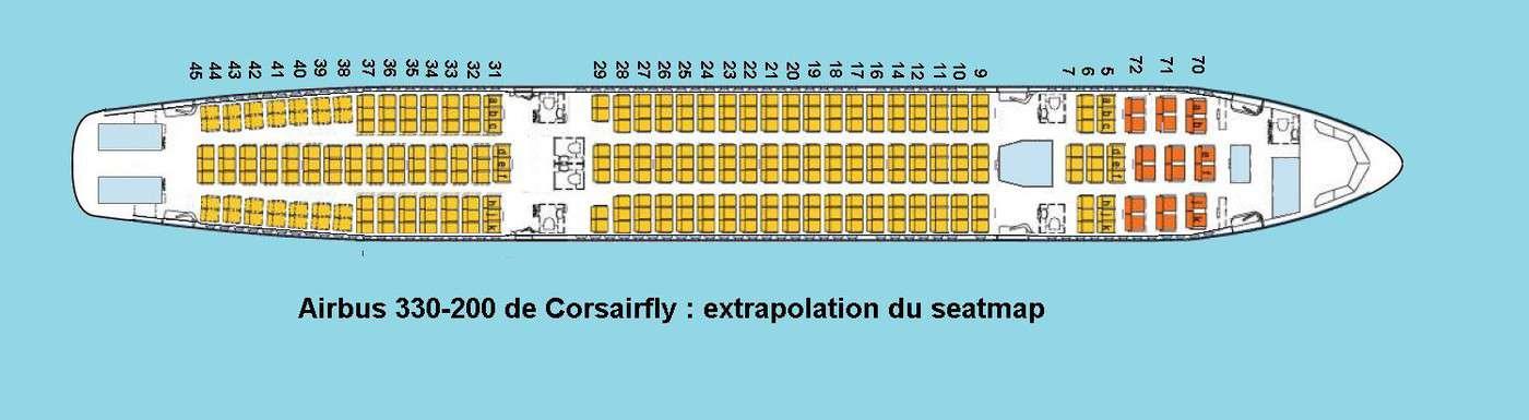 Corsairfly airbus a330 200 plan si ges hublots for Interieur 747 corsair