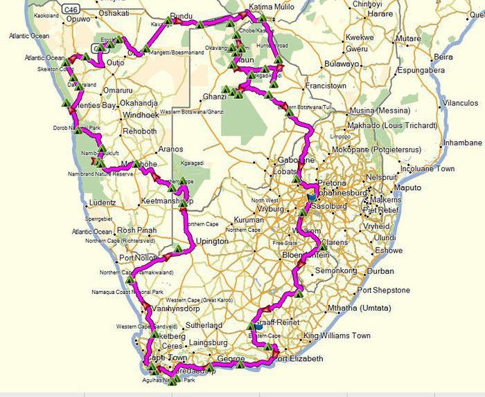 Carte Afrique Du Sud Namibie.Notre Itineraire De 3 Mois En Afrique Du Sud Namibie