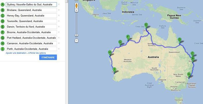 Carte Camping Australie.Six Mois En Van En Australie Voici Ma Carte Voyage En