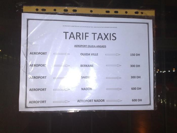tarif d 39 un taxi de l 39 a roport oujda angads berkane maroc. Black Bedroom Furniture Sets. Home Design Ideas