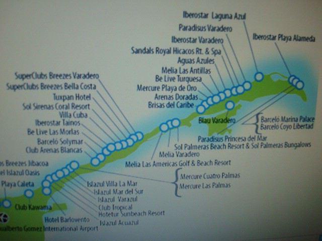 Carte autre que Google Maps pour voir les hôtels à Varadero?